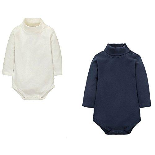 CuteOn 2 Packs Unisexe bébé Romper - Col roulé Manches longues - 103% coton - Enfant Bodysuit Combinaison Bleu royal + Beige 18 Mois