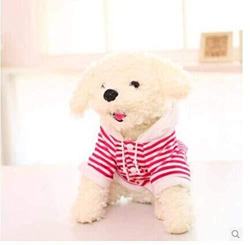 FGBV R ca. 32 cm Weißer Teddy Hund Plüsch Spielzeug gekleidet rote Streifen Tuch Hundepuppe Kinder Geschenk W5807 Manmiao