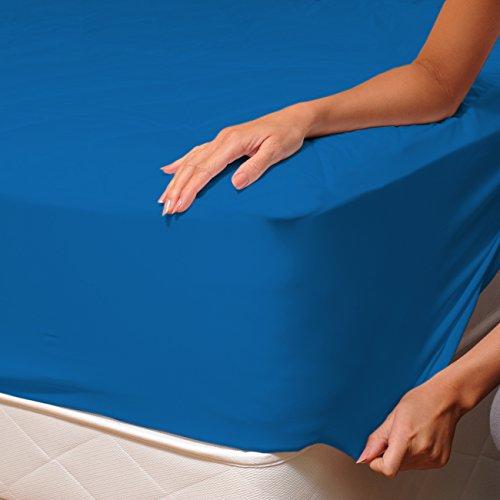 SoulBedroom Bleu foncé Drap Housse 100% Coton Linge de lit, Uni Couleur, 1 Place et Demi - 120x200 cm