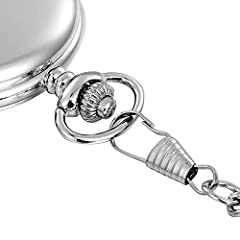 Vintage Smooth Quartz Pocket Watch Classic Fob Watch with Short Chain for Men Women on Birthday Anniversary Day Christmas Fathers Day (silver) #3