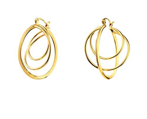 Pendientes Elixa redondos para mujer de color dorado 128-8256