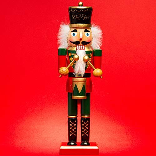 Sikora NK-D aufwändig gestaltete Deko Nussknacker Figur aus Holz, Größe:Höhe ca. 36 cm, Farbe/Modell:D02 rot/grün - TROMMLER
