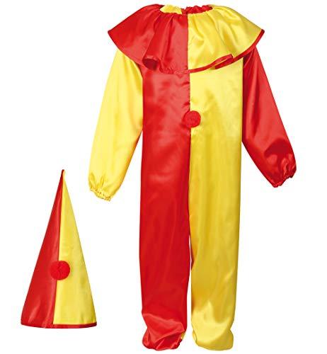 KarnevalsTeufel Kinderkostüm Clown in rot-gelb Overall und Hut Hofnarr Harlekin Kasper Verkleidung (116)