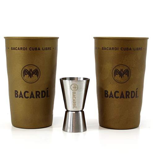 Bacardi Rum Gold Becher 2er Set Cuba Libre Metall Cup + Jigger ~mn 1145 1232+