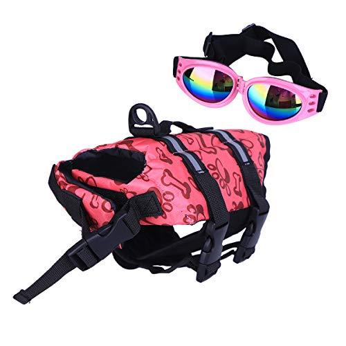 POPETPOP Best Dog Life Jacket Size Adjustable Preserver Life Vest buoyant Lifesaver with pet Glasses Size xs