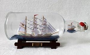 Buddelschiff 1 liter Flasche Gorch Fock 27 cm Länge m 2 Schiffen Flaschenschiff