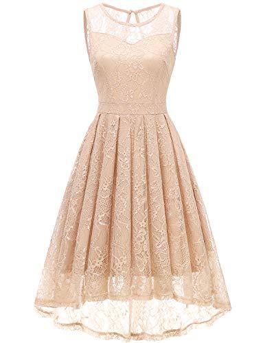 Gardenwed Damen Kleid Retro Ärmellos Kurz Brautjungfern Kleid Spitzenkleid Abendkleider CocktailKleid Partykleid Champagne M