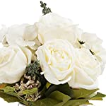 enova home mixed silk rose and hydrangea flower in glass vase with faux water (cream)
