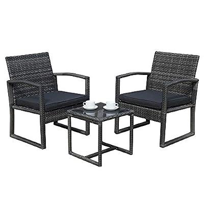 Patiorama 3 Pieces Outdoor Patio Furniture Set, Outdoor Wicker Conversation Set, Patio Rattan Chair Set, Modern Bistro Set with Coffee Table, Garden Balcony Backyard Poolside (Dark Grey)