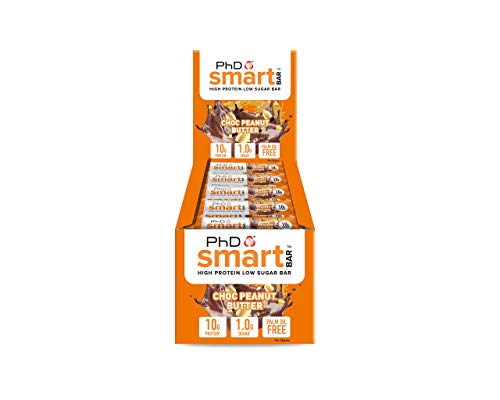 PhD Smart Bar, High Protein Low sugar chocolate coated snack (Chocolate Peanut Butter), 24 Half size Bars