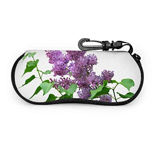 Estuche para anteojos de bebé con flor lila violeta púrpura, Estuche de viaje para gafas de sol, Estuche blando de neopreno portátil ligero con cremallera, Estuche delgado para gafas