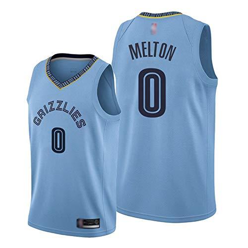 HS-XP Baloncesto Deportivo para Hombres NBA Memphis Grizzlies # 0 Dantoni Melton Jersey, Gimnasio De Secado Rápido Transpirable Suelto, Ocio Camiseta Sin Mangas,Azul,XXL(185~190cm)