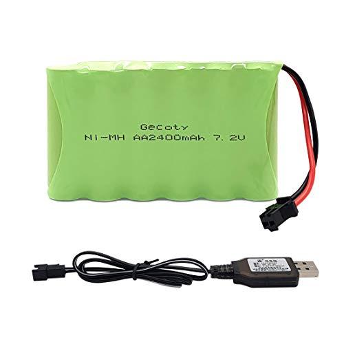 Gecoty® Batería de 7.2v 2400mah, batería AA recargable NiMH con cable de carga USB y enchufe SM 2P para Coche RC, iluminación, herramientas eléctricas, electrodomésticos