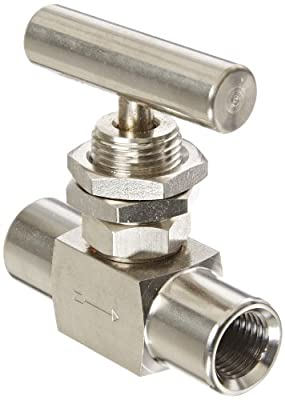 "PIC Gauge NV-SS-1/4-HS180-FFPM 316 Stainless Steel Straight Needle Valve with Hydraulic Service Seat, Panel Mount, 1/4"" Female NPT x 1/4"" Female NPT Connection Size, 10000 psi Pressure from PIC Gauges"