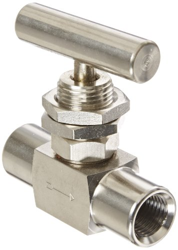 PIC Gauge NV-SS-1/4-HS180-FFPM 316 Stainless Steel Straight Needle Valve with Hydraulic Service Seat, Panel Mount, 1/4
