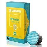 Gourmesso Ristretto Blend Forte - 10 Nespresso Machine Compatible Coffee Capsules - Fair Trade | High Intensity
