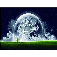 油絵 数字キット 手塗り モダンアート油画手描数字油絵 子供 大人 初心者 リビングと寝室の飾りに最高キットアートギフト- 緑の地球 40x50 cm(フレームレス)