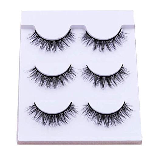 CAIXAI 3 Pairs False Eyelashes Cruelty-free Multilayered Effect Wispies Fluffy Long Natural 3D Full Volume Thick Fake Eye Lash Extension