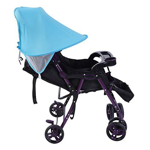 Dibiao Cochecito de Bebé para Niños Silla de Paseo Parasol Protección UV de Verano Cubierta de Dosel para Buggy (Azul)