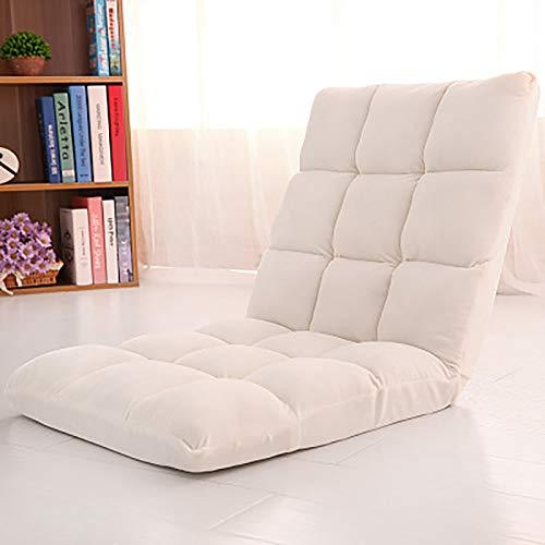YMBKFan Falten Bodenstuhl Gaming Bodenstühle Einstellbar Liege Sleeper Bett Rückenunterstützung Couch Liege Für Meditation Lesen Bodenbestuhlung-Große Weiß