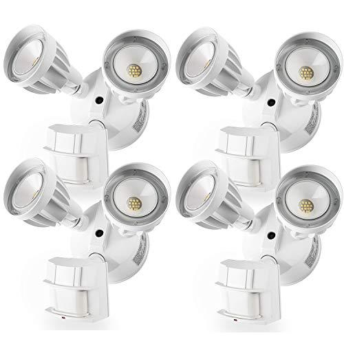 Amico 4 Pack LED Flood Light Outdoor Motion Sensor Light , Dual-Head 5000K Daylight White 2550 Lumens IP65 Waterproof, ETL Security Lights Motion Outdoor