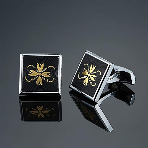 Klassische Herren-Manschettenknöpfe in schwarzer Schachtel, für französisches Hochzeitskleid, Hemdzubehör, 1 Doppelbett, Metallfarbe: 3