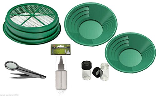 """7pc Gold Panning Kit 1/8 Mesh Classifier, 14"""" & 10"""" Green Gold Pans, 2 vials, Sniffer Bottle, Tweezers with Magnetfier & Free DIGIWEIGH Pocket Scale 1000g x 0.1g"""