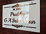 Aarushi Creations Home/Door Copper Mirror Shine Acrylic Embossed Letters Name Plate for Sun and Rain, Laser Cut (24 x 12 Inches)