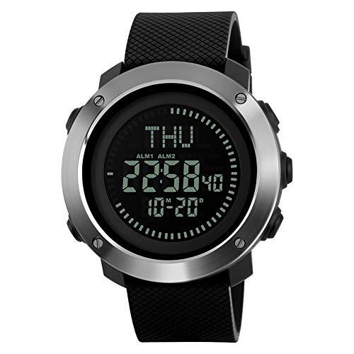 YK WATCH Orologio elettronico Digitale Impermeabile della Bussola Multifunzionale della vigilanza Sportiva degli Uomini Esterni di Sport,Black