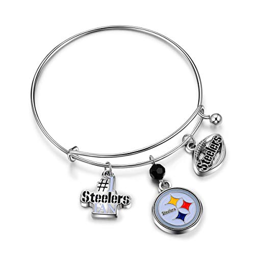 Pro Specialties Group womens NFL Pittsburgh Steelers Three Charm Logo Bracelet , Small
