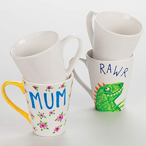 Baker Ross diseña tus propias tazas grandes de porcelana contemporáneas (paquete de 4) para que los niños decoren