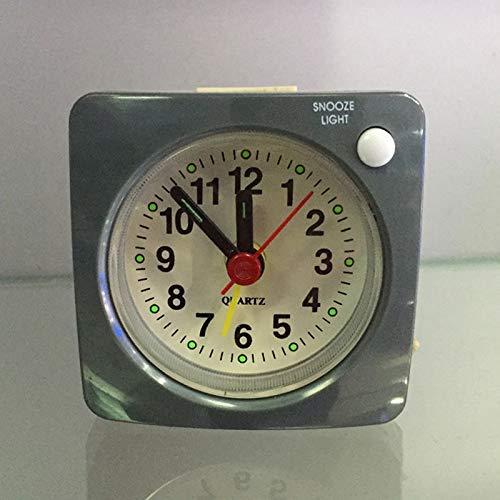 JINQIANSHANGMAO Mini reloj despertador cuadrado de plástico para estudiantes, silencioso, con aguja de noche, sin tictac, portátil, para viajes en casa, color gris