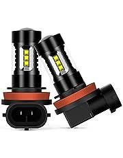 AUXITO LED フォグランプ H8 / H11 / H16 (国産車)/ H9 LED フォグ ホワイト LED素子16連 / 個 12V 対応可 1500LM 6000K 30000時間以上寿命 1年品質保証(ホワイト 2本セット)