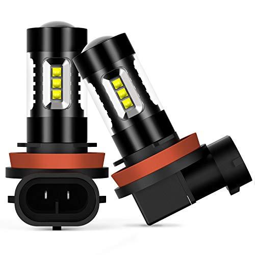 AUXITO LED フォグランプ H8 / H11 / H16 (国産車)/ H9 LED フォグ ホワイト LED素子16連 / 個 12V 対応可 ...