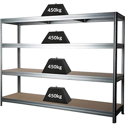 Stabiles Schwerlastregal   Tragkraft bis zu 450 Kg pro Fachboden   1770 x 2400 x 600 mm   Kellerregal Stahlregal Garagenregal Lagerregal   Silber