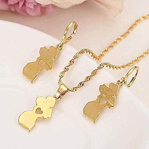 CAISHENY Collar Gold Guya Map Conjuntos de Joyas Collar de Pendientes Conjuntos de Joyas de Cadena para Mujeres Niñas Recuerdo Boda Regalo Nupcial Collar Longitud 50Cm