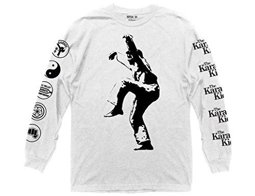 Ripple Junction Karate Kid Daniel Crane Kick Adult Long Sleeve T-Shirt Medium White