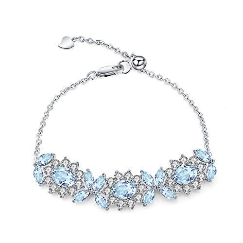 925 Sterling Silver Sky Blue Topaz Flower Adjustable Bracelets For Women fine jewelry