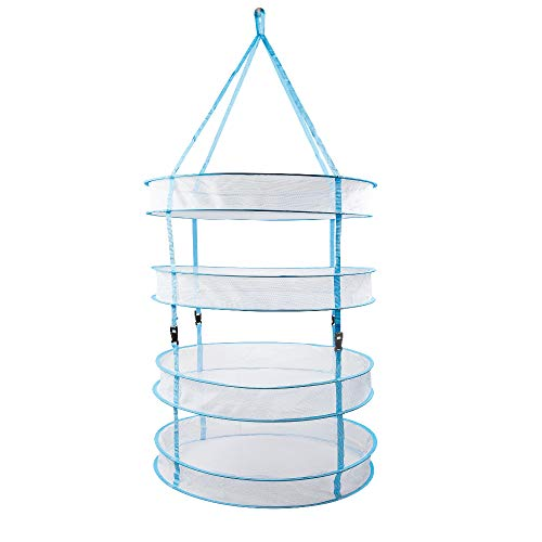 Happy Hydro - Hanging Drying Rack - 4 Tiers for Drying Herbs & Tea - Collapsible and Comes with Carry Bag - 24 inch x 48 inch