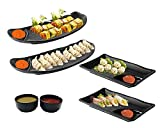 Home Decorise Melamine Rectangle French Fries, Momos, Rolls Serving Platter with Dip Bowl Unbreakable Serving Dessert and Snacks Platter/Tray (Black, Pack of 6)