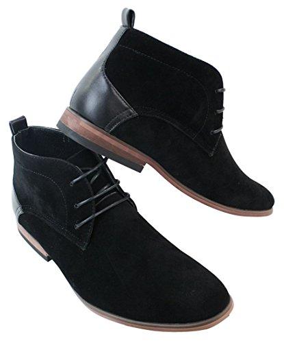 Chaussures homme bottines simili daim noir doublure en cuir avec lacets