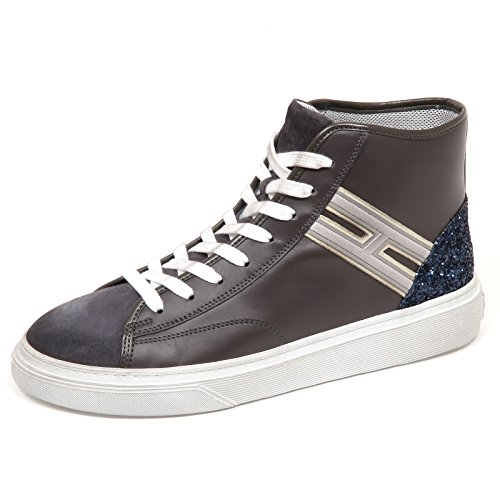 Hogan E4572 Sneaker Donna Grey H342 HI TOP H Flock Glitter Vintage Shoe Woman [36.5]