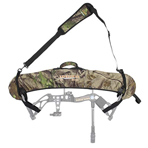 SUNYA Neoprene Compound Bow Sling, Silent Hunting or Fast Movement 2 Carrying Modes Switchable. Padded Shoulder Sling Removable & Adjustable. Camouflage Fabric. (Camo with Black Strap)