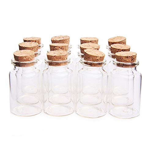 knowing 10pcs 30 mm x 60 mm Vacías Muestras Botella de Cristal, 25ml Mini Tarros de Cristal Botellas Frascos con Tapones de Corcho, para Bodas, Joyería, Regalos para Invitados (Transparente)