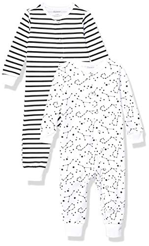 Hanes Ultimate Baby Flexy 2 Pack Sleep and Play Suits, Black Stripe