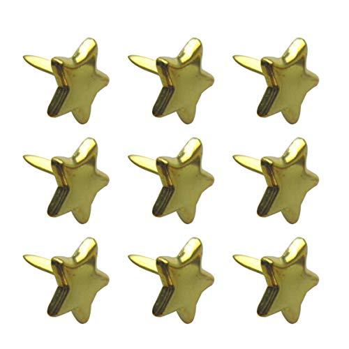 Healifty Mini clavitos estrella clavos scrapbooking embellecimiento pastel pastel multicolor papel artesanal estampado scrapbooking herramienta de bricolaje 200 piezas 14 mm (dorado)