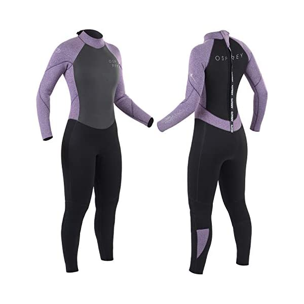 Osprey Womens Full Length 5 mm Winter Wetsuit, Adult Neoprene Surfing Diving Wetsuit, Zero, Purple