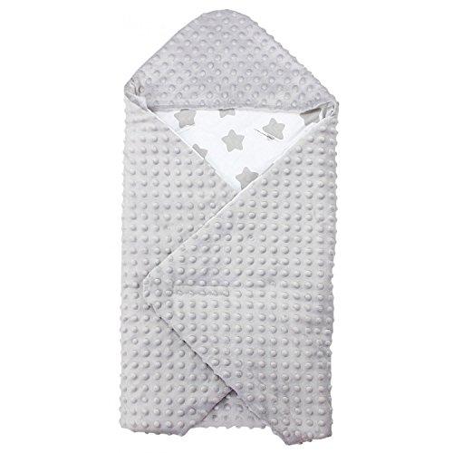 TupTam Baby Sommer Einschlagdecke für Babyschale, Farbe: Große Sterne Grau/Weiß, Größe: ca. 75 x 75 cm