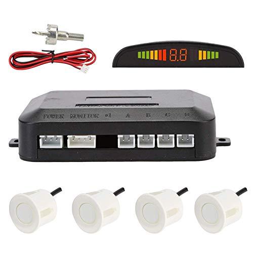 Radar de Recul, OSAN Kit Système d'Auto Aide au Stationnement Beeper Ecran LED Numérique-Comprenant 4 Capteurs-Blanc