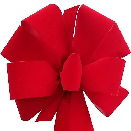 12-Pack Christmas Bows 10' x 26' ($7.50 ea.) Handmade with 2.5' Red Velvet Ribbon Indoor Outdoor Wreath Home Decor Tree Decoration Packed Fluffy Not Flat Made In USA